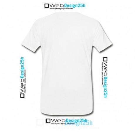 Koszulki białe z nadrukiem 25 sztuk