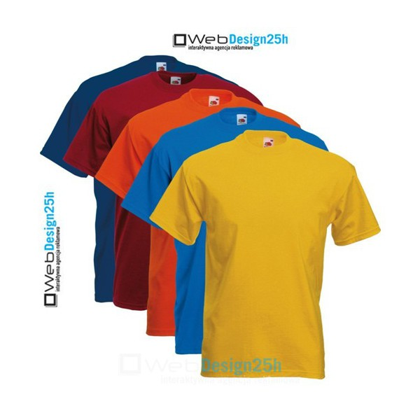 Koszulki kolorowe z nadrukiem 25 sztuk - WebDesign25h.pl agencja reklamowa radom